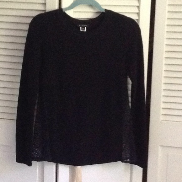 H By Hudson Sweaters - Black sweater with crochet panels on side size xxs